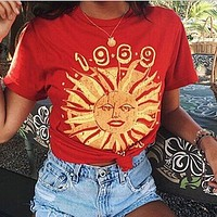 Fashion Casual Sun Pattern Letter Print Round Neck Short Sleeve T-shirt