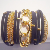 5X Wrap Bracelet with Navy Blue Suede cord, 2 gold brass Chains and Twisted Rhombus gold Chain