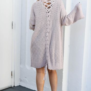 All Things Pretty Mauve Knit Open Sweater Cardigan