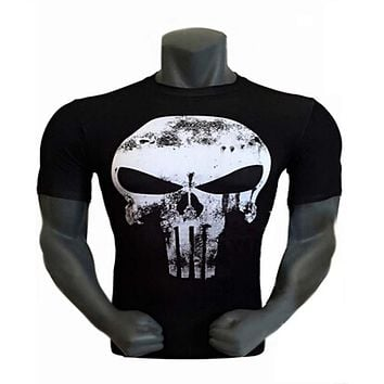 2017 fashion Men Brand Marvel Superhero Punisher tees Compression Armour T Shirts Men Fitness T-shirt Tights Under Tee