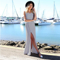 Striped Sleeveless Backless Cutout Maxi Slit Dress