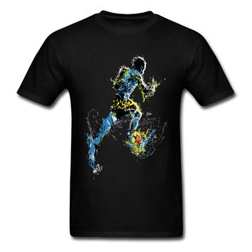 Men T Shirt Hip Hop Brand New Fashion Tshirt White Watercolor Footballer T-Shirts Go Go World T Shirt 2018 Russia Cup