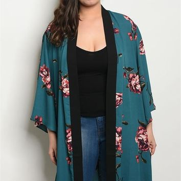 Women's Plus Size Top Teal Floral Kimono Wrap Blouse Layer Fall Casual Chic