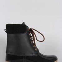 Shearling Cuff Round Toe Lace Up Duck Ankle Boots