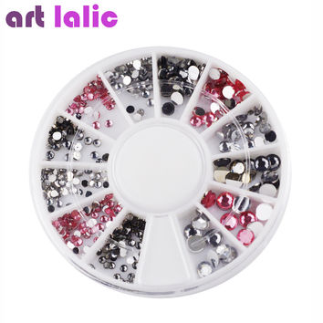 3D Nail Art Rhinestones Crystal Gems White Pink Grey Glitters DIY Deco Nail Tips Design Tool #61