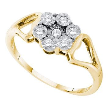 Yellow-tone Sterling Silver Womens Round Illusion-set Diamond Flower Cluster Ring 1/8 Cttw