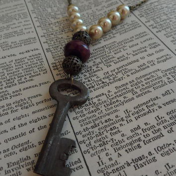 Skeleton Key Necklace, Steampunk, Vintage, Repurposed, Recycled Jewelry S21