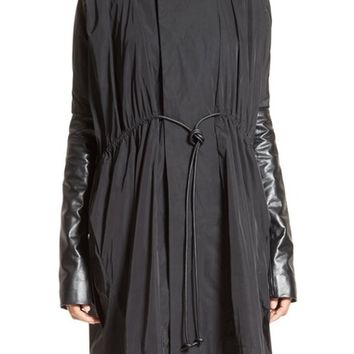 Rick Owens Leather Sleeve Drawstring Coat | Nordstrom