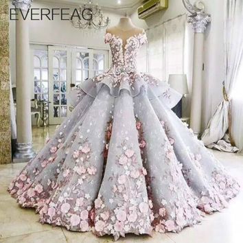 EVERFEAG Floor Length Luxury Ball Gown Maternity Wedding Dress 2016 Bridal Gown with Flowers