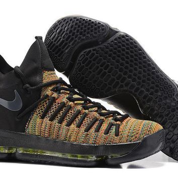 auguau Nike Men's Durant Zoom KD 9 Flyknit Mid-High Basketball Shoes Black Orange 40-46
