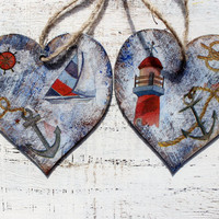 Set of 2 heart ornaments sea nautical off white brown red navy blue lighthouse rustic seagull sea ocean ship