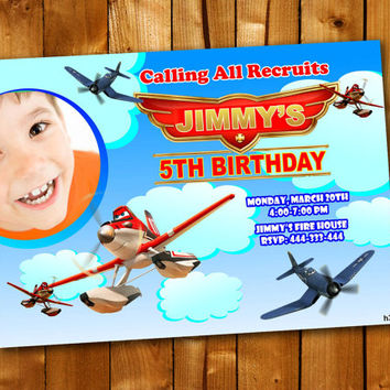 Planes Fire and Rescue, Birthday Invitation, Birthday Party for little boy and little girl