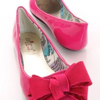 Fuchsia Patent Faux Leather Scoop Vamp Casual Flats