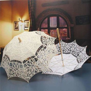 Lace Parasol Umbrella For Decoration Bridal Wedding Umbrella Vintage Lace Umbrella Beige Ivory White Princess Gift