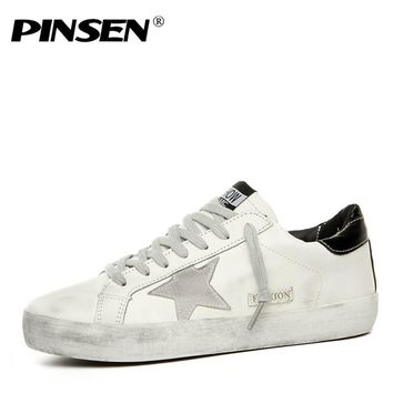 PINSEN Brand Shoes Men Sneakers Casual Leather Do Old Dirty Shoes man Flat Sequins Star Golden Glitter Trainers man male 35-45