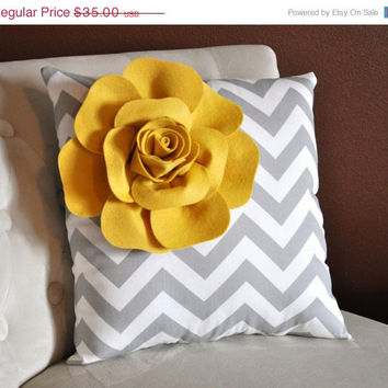 MOTHERS DAY SALE Mellow Yellow Corner Rose on Gray and White Zigzag Pillow 14 X 14 -Chevron Flower Pillow- Zig Zag Pillows