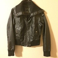 Black Faux Leather Moto Jacket By Beverly Hills Polo Club Size M