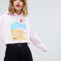 Reclaimed Vintage inspired cropped hoodie with art print at asos.com