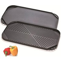 Cook N Home Nonstick Aluminum Double Burner Reversible Griddle/Grill, 19-1/2 by 10-1/2-Inch