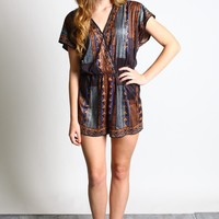 Flying Tomato Printed Suede Romper