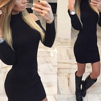 Womens High-quality Sexy Tight Long Sleeve Dress + Free Black Tattoo Choker Gift-80