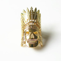 Indian Ring, Skull Ring, Gold/ Silver Indian Skull Ring