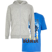 River Island Boys grey hoodie and blue print t-shirt set