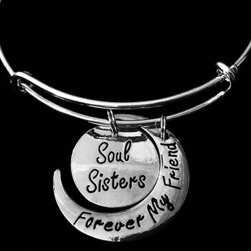 Forever My Friend Soul Sister Expandable Charm Bracelet Silver Adjustable Bangle Trendy Best Friend Gift BFF