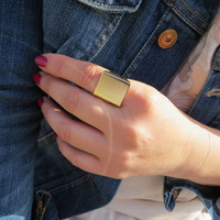 Fashion Punk Square Gold Rings Anel Lord Of The Rings