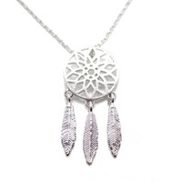 Feathered Dream Catcher Shaped Charm Necklace in Silver   DOTOLY