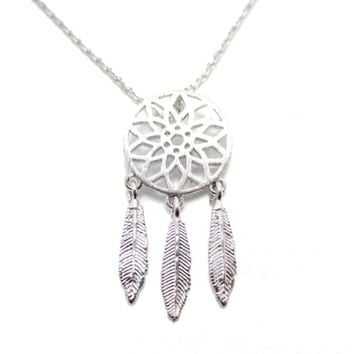 Feathered Dream Catcher Shaped Charm Necklace in Silver | DOTOLY