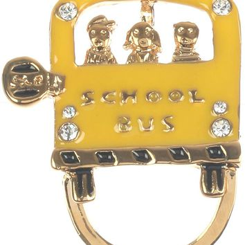 Yellow Epoxy Coated Metal School Bus Pin And Brooch