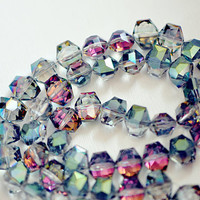 Shiny Green Faceted Glass Beads Unique Shape 30080 by SomeSupplies