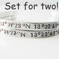 sister bracelet, coordinate bracelets, set of Two ,hand stamped, longitude latitude, personalized