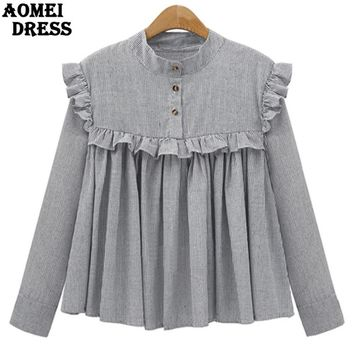 Spring Plaid Cotton Women Vintage Blouse with Ruffles Trim Pleat Lady Oversized Design Shirts Casual Tops Clothing Blusas