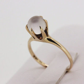 Vintage Moonstone Ring 10k Yellow Gold Ring Antique Engagement Ring Promise Ring Estate Ring Gemstone Ring Size 5.5
