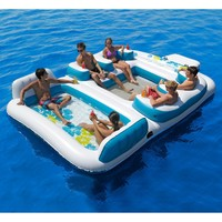 "New Giant Inflatable Floating Island 6 Person Raft Pool Lake Float 15'-8""x 9'-4'"