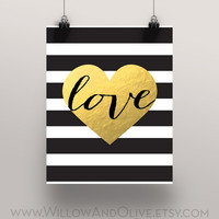 LOVE HEART Faux Gold Foil Art Print - Black & White Stripe - Home Office Decor - Imitation Gold Leaf - Gold Love Heart - Anniversary Gift