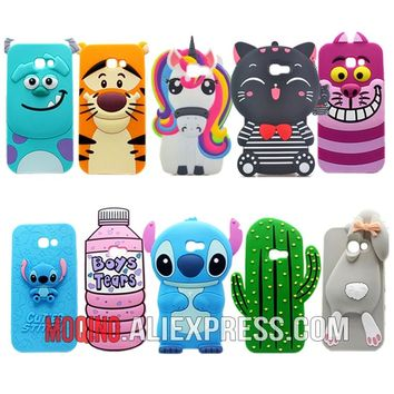 For Samsung Galaxy A5 2017 A520 Case Cute 3D Stitch Yellow Minion Lucky Cat Bottle Silicone Phone Cases Covers