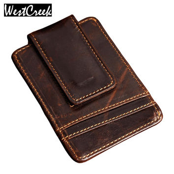 Men money clips vintage genuine leather front pocket clamp for money holder magnet magic money clip wallet with card ID Case