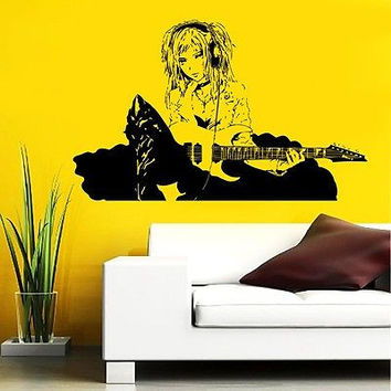 GUITAR ROCK BAND STAR GIRL MUSIC  ANIME WALL VINYL STICKER  DECALS MURAL D1631