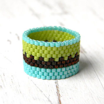 Wide band ring, casual ring, ethnic jewelry, peyote ring, beaded ring, beadwork jewelry, colorful ring, women ring, wide ring, unusual ring