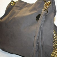 Stella and Jamie Hobo purse tali gold studded brown
