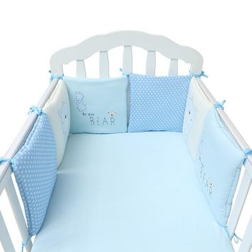 6Pcs/Lot Baby Bed Bumper Protector Baby Bedding Set Newborn Crib Bumper Toddler Cartoon Bed Bedding Set in the Crib for Infant