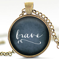 Brave Necklace, One Word Jewelry, Typographical Necklace, Dark Blue Pendant, Your Choice of Finish (1901)