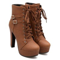 Chunky High Heel PU Boots With Buckles