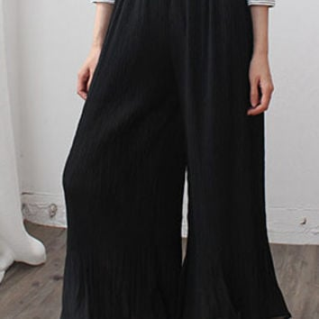 Pleated Ankle Wide-Leg Pants
