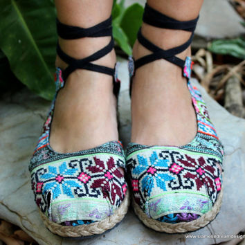Espadrille With Ankle Wrap Flat Womens Shoe, Hmong Embroidery & Batik,