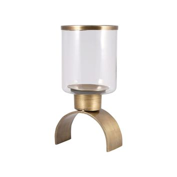Modern Pillar Holder - Small Antique Brass,Clear