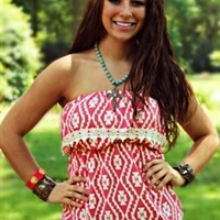 Courtney Crochet Top in Coral